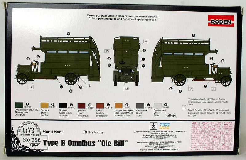 T48P Roden URO739 LGOC /'General/' Type B Bus Early 1914 Plastic Kit 1//72 Scale